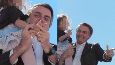 Jair Bolsonaro ensina criança arma