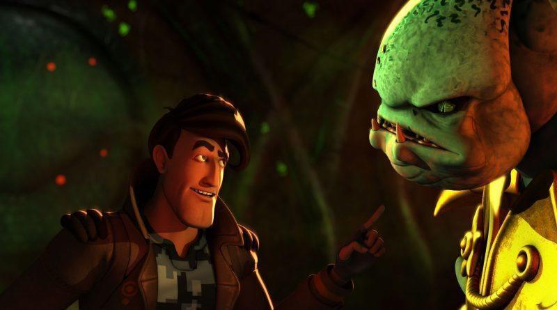 """Foto da animação """"As Aventuras de Fujiwara Manchester"""", com o protagonista cara a cara com um monstro verde"""
