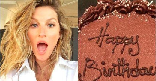 Gisele Bündchen recebe bolo de aniversário inusitado e faz piada