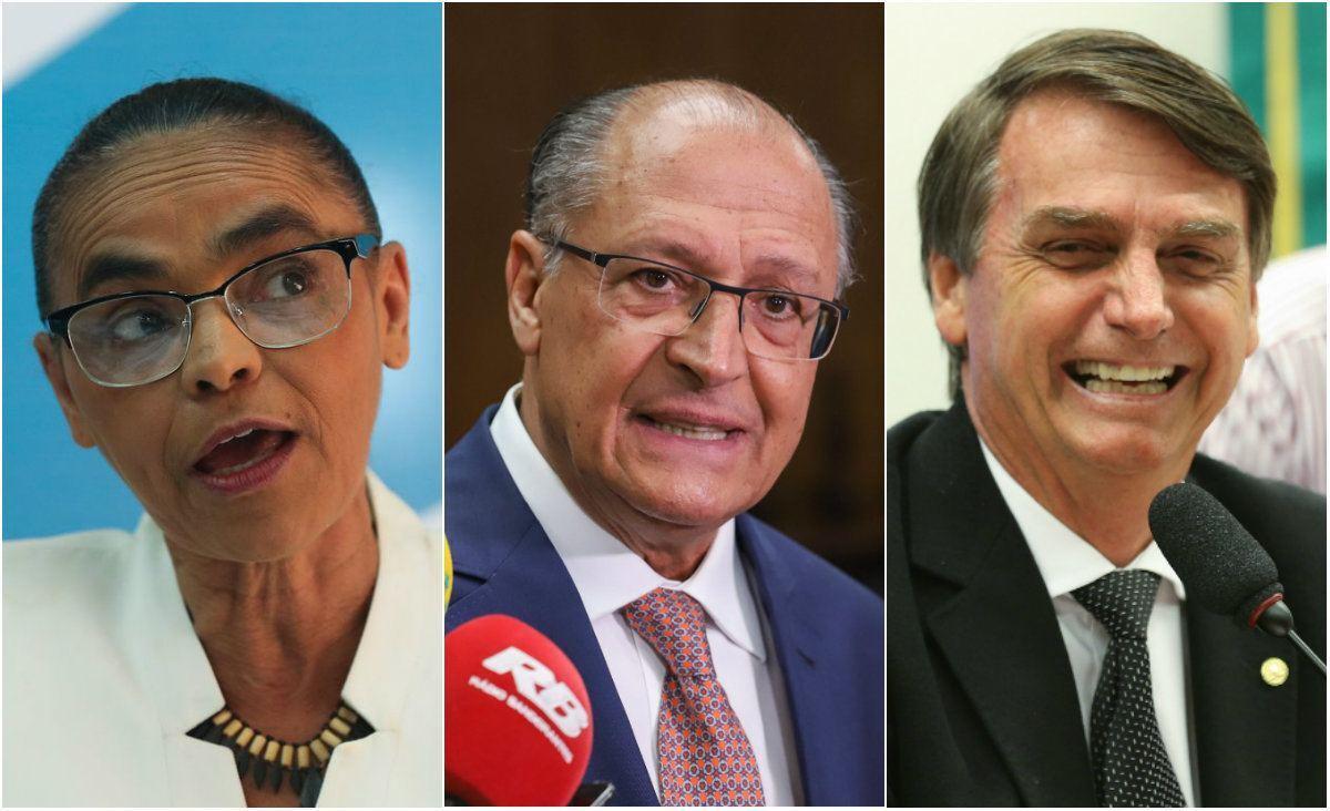 Marina Silva, Geraldo Alckmin e Jair Bolsonaro