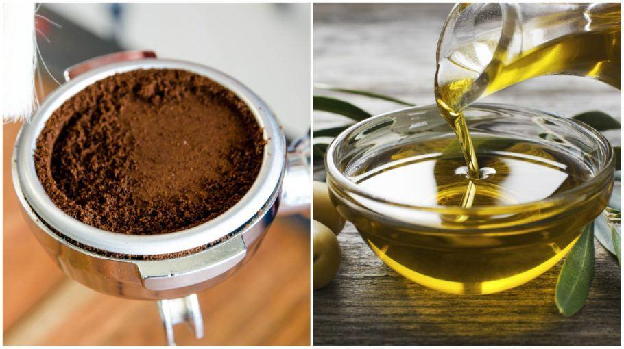 borra de café e azeite de oliva