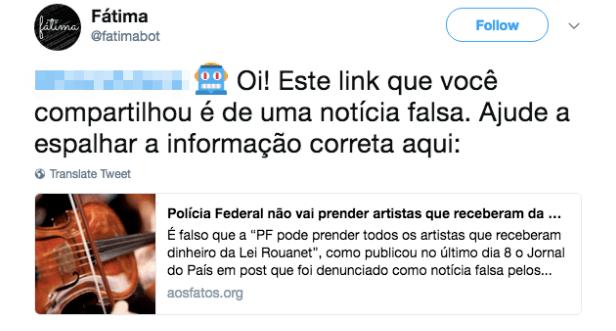 Mensagem do Twitter avisa usuário que notícia compartilhada é falsa