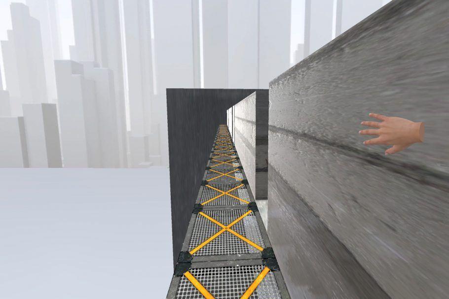"""Em """"Unlimited Corridor"""" (Corredor Infinito), do japonês Keigo Matsumoto, os visitantes andam em um espaço circular sem perceber"""