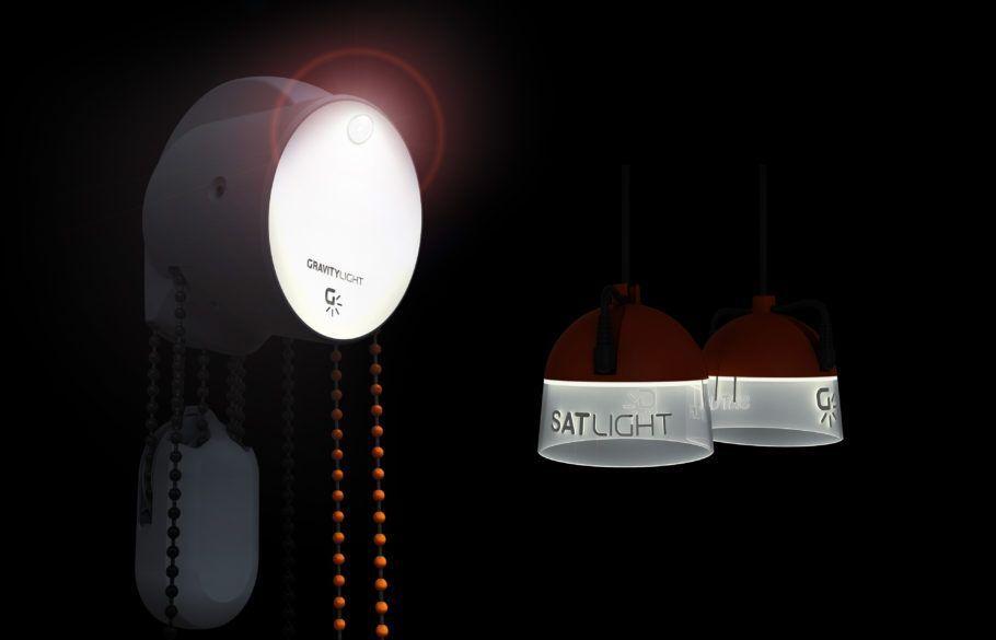 Lâmpada principal e luzes complementares da GravityLight