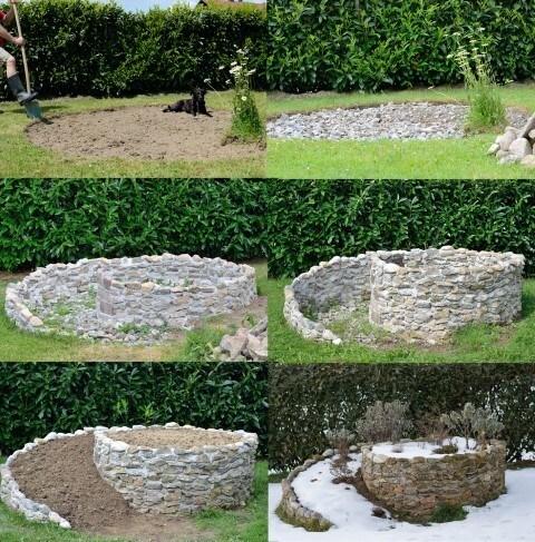 O jardim pode ser feito com pedras ou tijolos