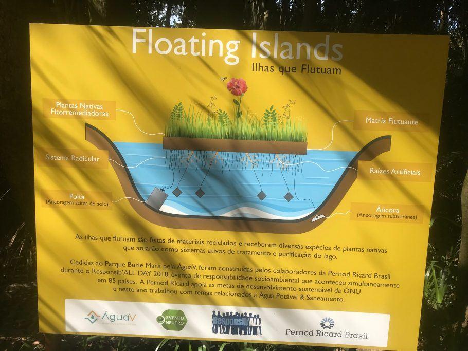 Painel no Parque Burle Marx explica o funcionamento dos jardins flutuantes