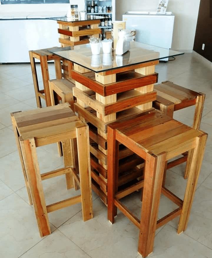 Mesa e bancos para a cozinha