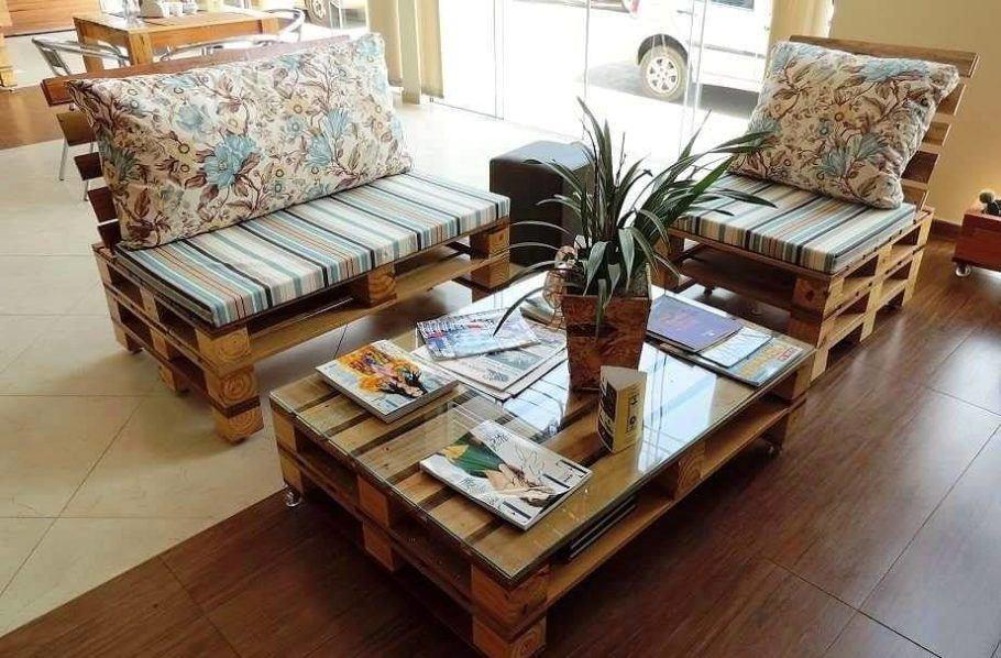 Móveis de pallets: sofá, cadeira e mesa de centro