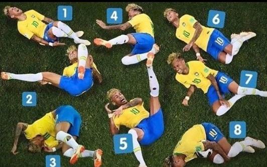 Imagens com Neymar caído no chão