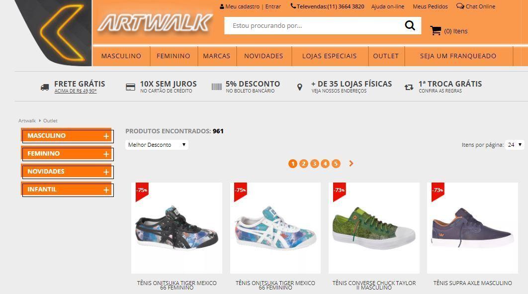 a9a214c0da Crédito  reprodução   site ArtwalkArtwalk vende tênis com até 75% de  desconto