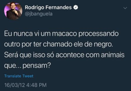 tweet racista jacaré banguela