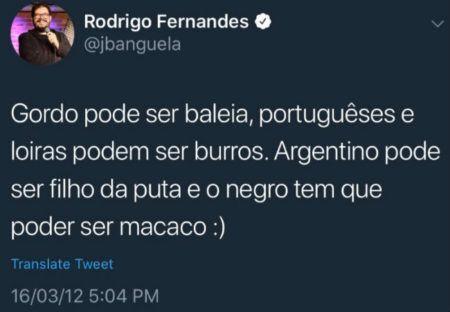 tweets racistas de jacaré banguela