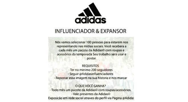 aac030fd45 Falsa promoção usa Adidas para recrutar influenciadores digitais