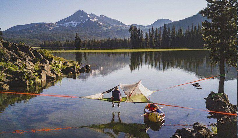 A barraca de camping pode se tornar uma espécie de casa na árvore flutuante