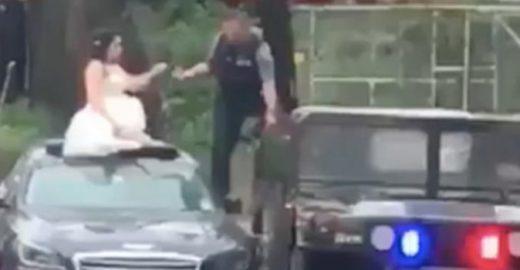 Noiva fica presa durante alagamento e é socorrida por policiais