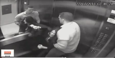 Luis Felipe agredindo Tatiane no elevador