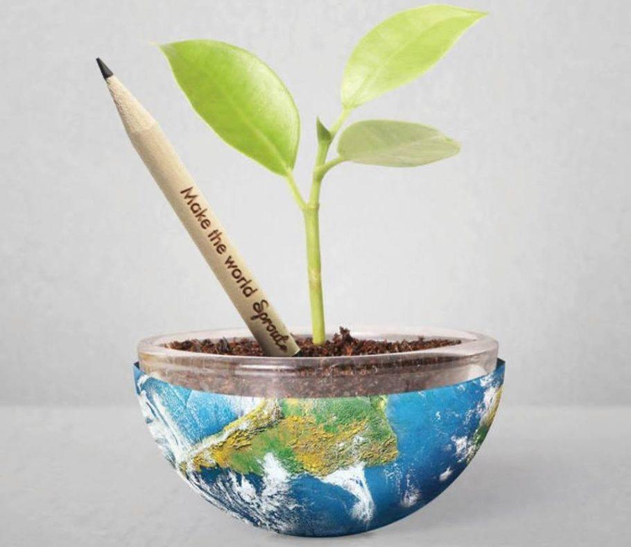 O lápis ecológico Sprout colore o planeta de verde