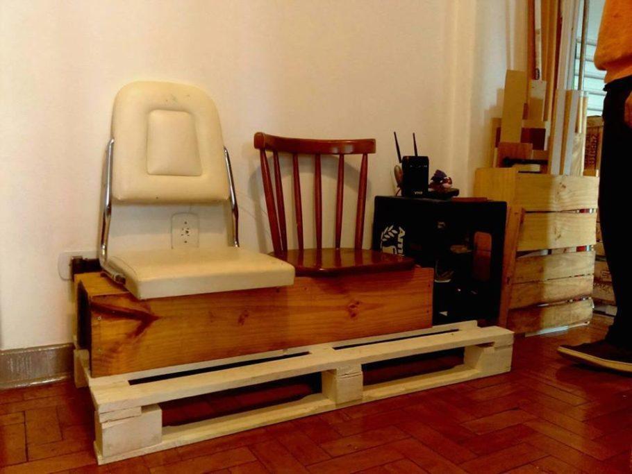 O lixo de caçamba se transforma em mobiliário