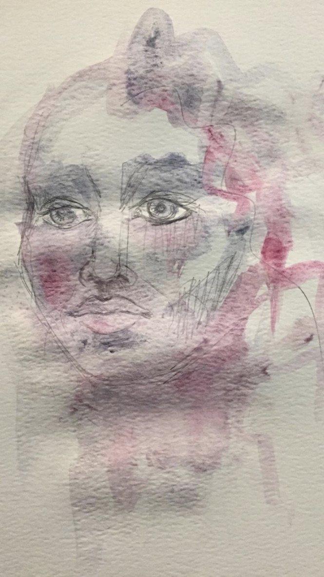 Aquarela feita com tintas à base de pigmentos de maquiagem