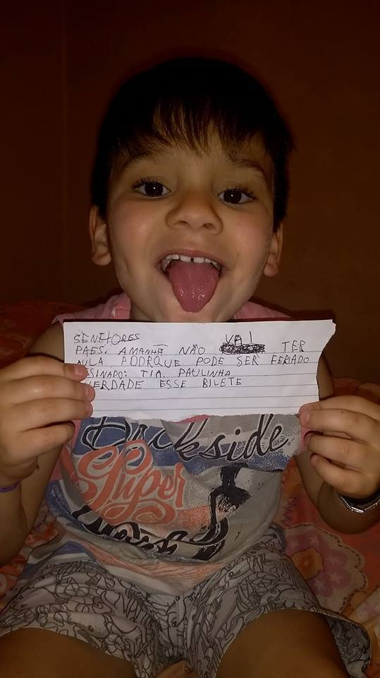 menino que escreveu bilhete se passando por professora