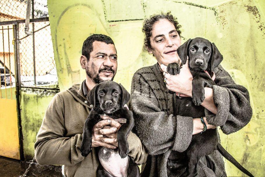 Dois moradores de rua e seus cães