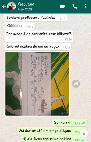 criança escreve bilhete se passando por professora