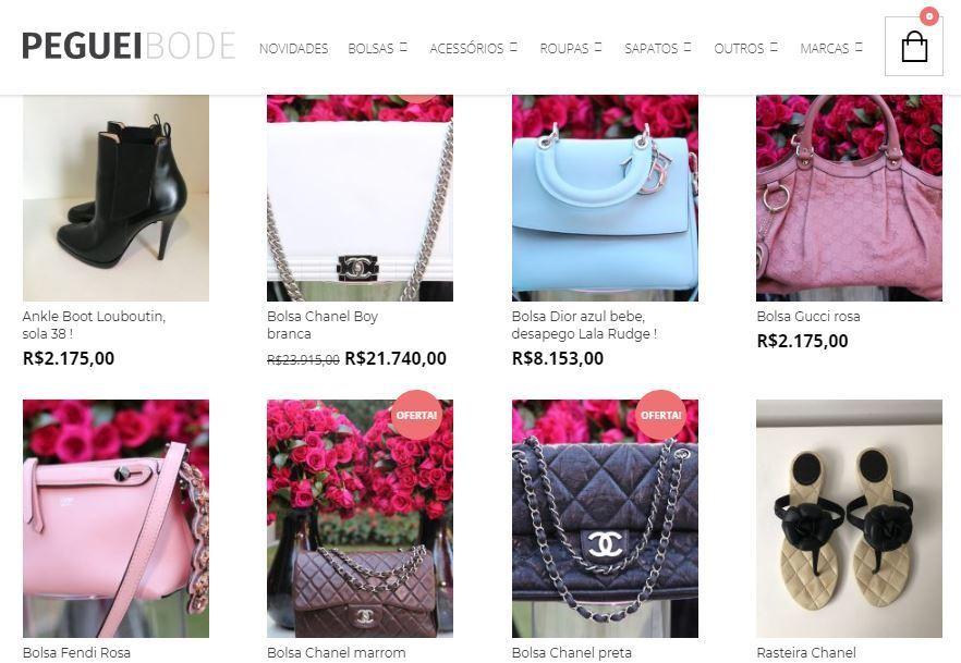 2a9442dbbd7 Crédito  reprodução   site Peguei BodeSite vende peças de luxo seminovas.  Café Brechó