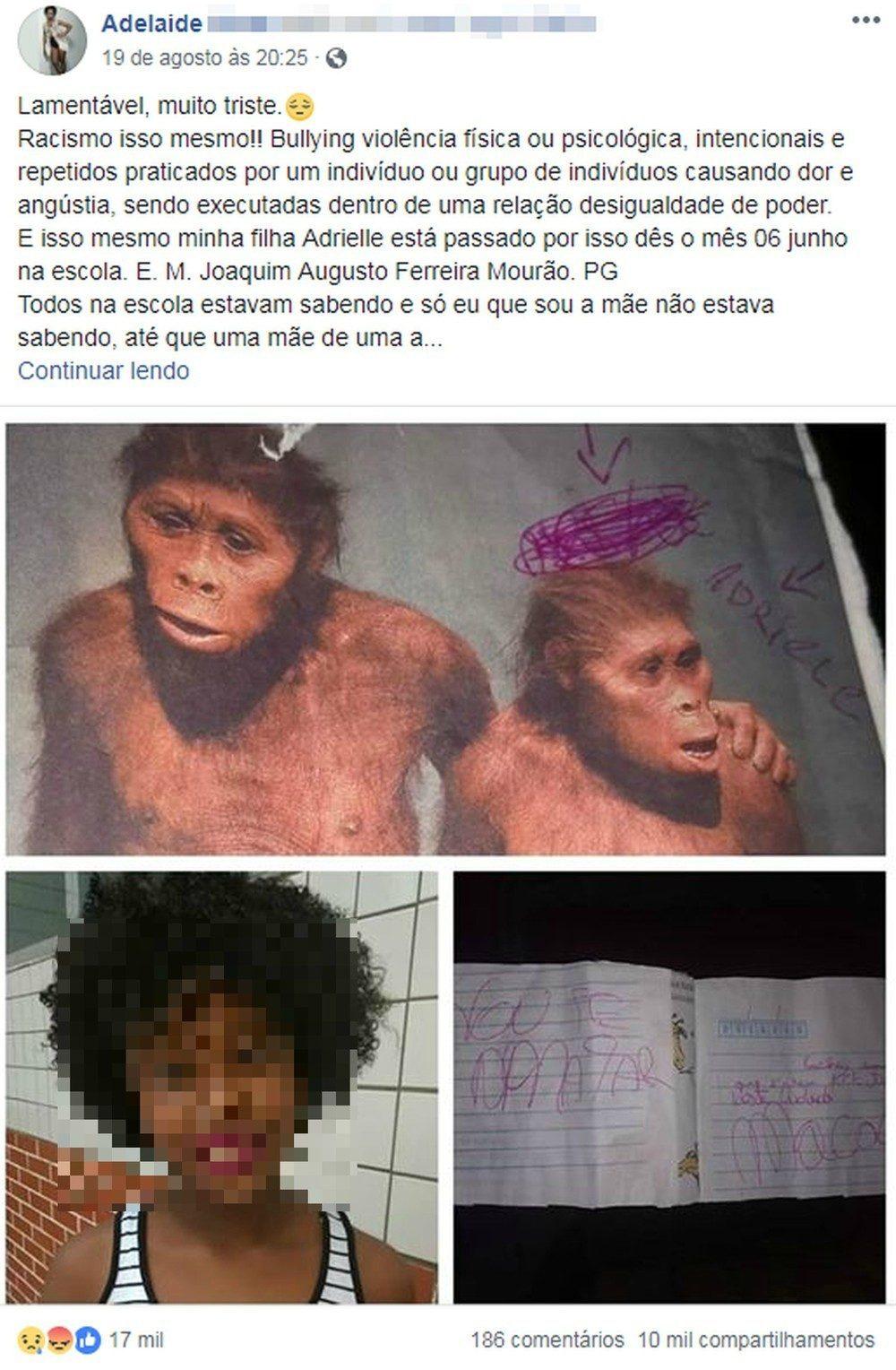 Print do post da mãe da garota que sofreu racismo
