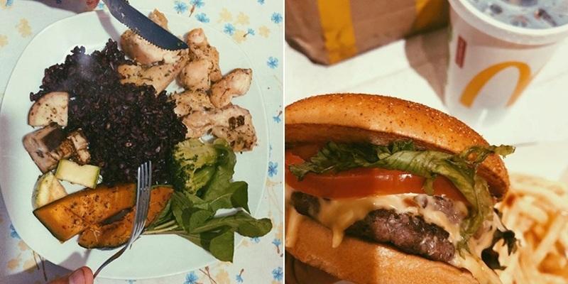 montagem com um prato saudável e um hambúrguer