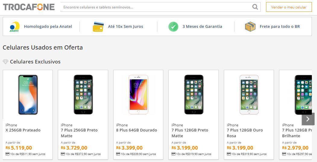 56406848eb6 Crédito  reprodução   site TrocafoneNo site Trocafone é possível comprar e vender  smartphones seminovos