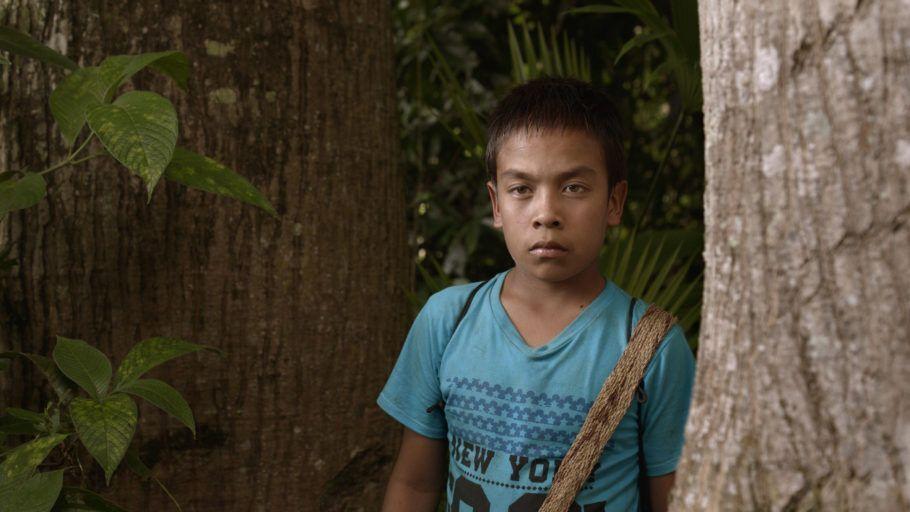 """Foto do filme """"Terra Molhada"""", em que um menino aparece em close olhando para a câmera"""