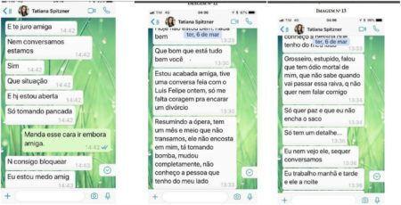 Conversas de WhatsApp entre Tatiane Spitnez e uma amiga