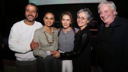 Marcos Palmeiras, Maitê Proença, Cássia Kiss e Marco Nanini com Marina Silva