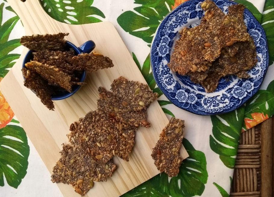 Crackers de sementes low carb e veganos