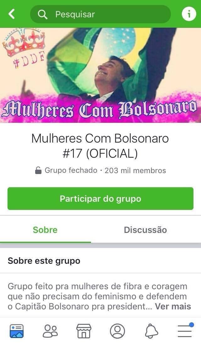 Print do grupo Mulheres com Bolsonaro
