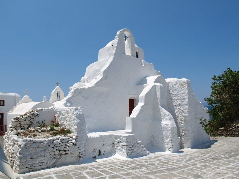Igreja de Panaria Paraportiani, na ilha de Mykonos