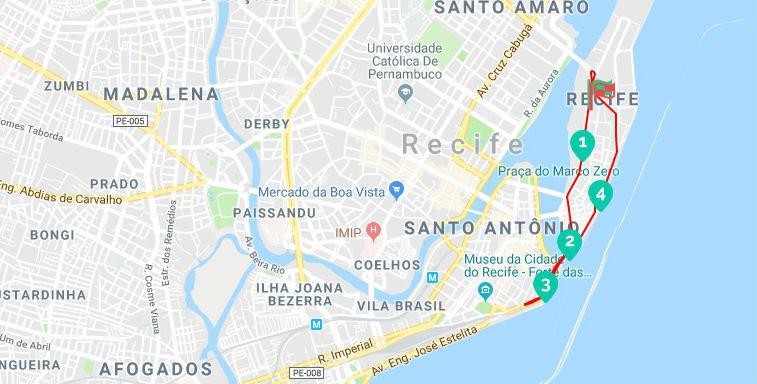 mapa corrida Recife
