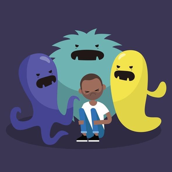 ilustração mostra um menino com uns monstros atrás dele