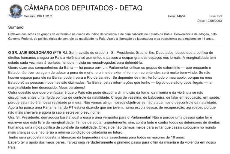 discurso de Bolsonaro reproduzido na Câmara