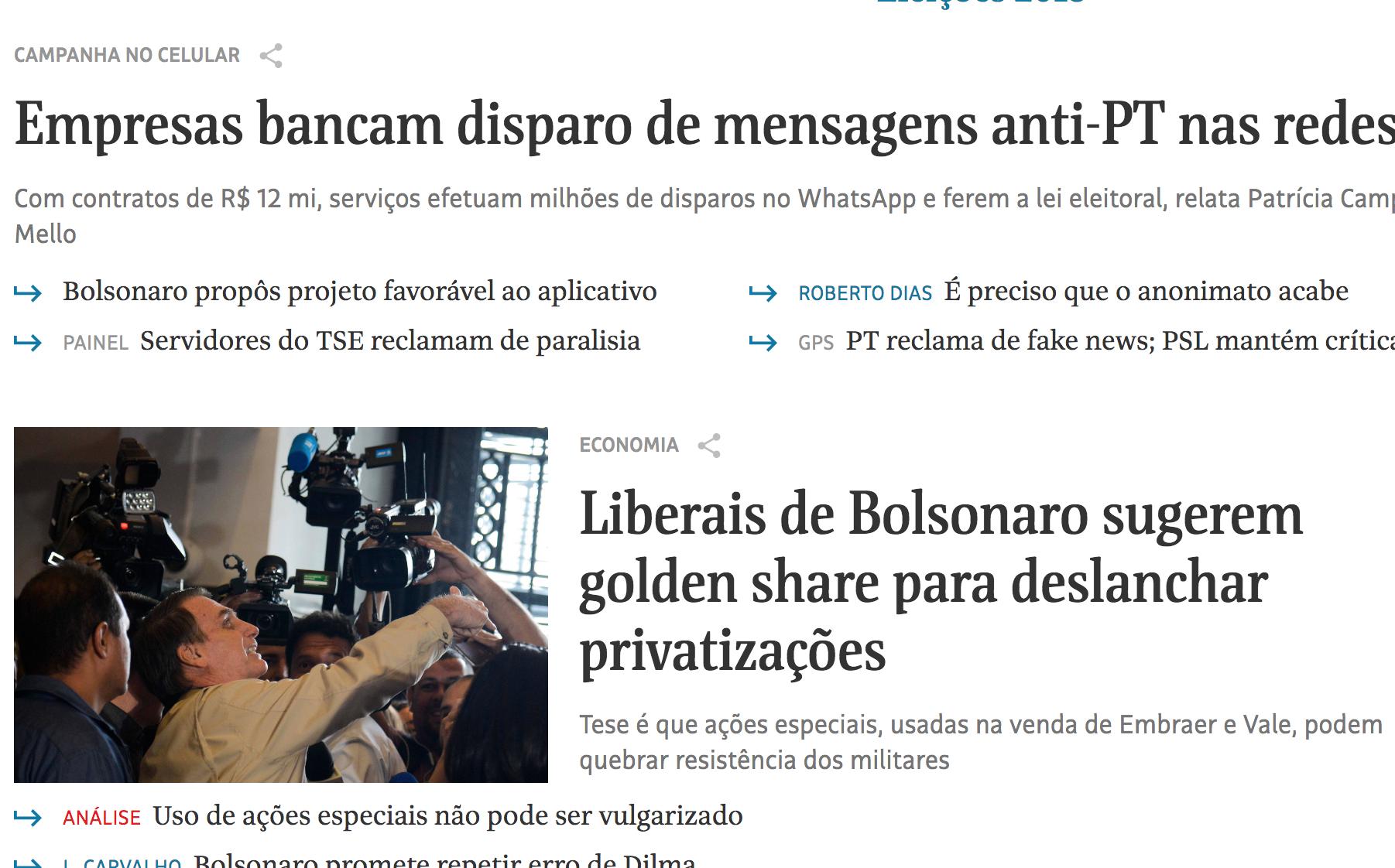 Folha descobre no WhatsApp segredo ilegal da campanha Bolsonaro