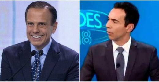 César Tralli se irrita com torcedores de João Doria na Globo