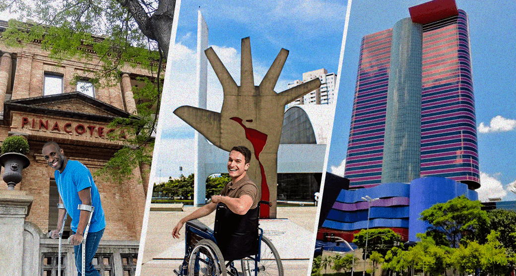 3 pontos turisticos de SP com cadeirante e pessoa com muletas