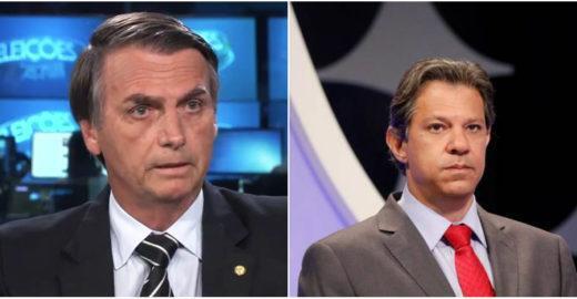 Haddad e Bolsonaro estão empatados no 2º turno, mostra Ibope