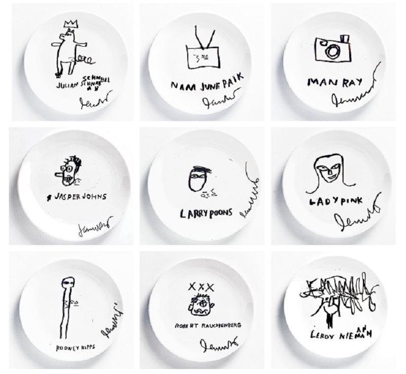 JEAN-MICHEL BASQUIAT | Marcadores permanentes sobre 45 pratos de cerâmica [45 Marker on Ceramic Plates], 1983/84