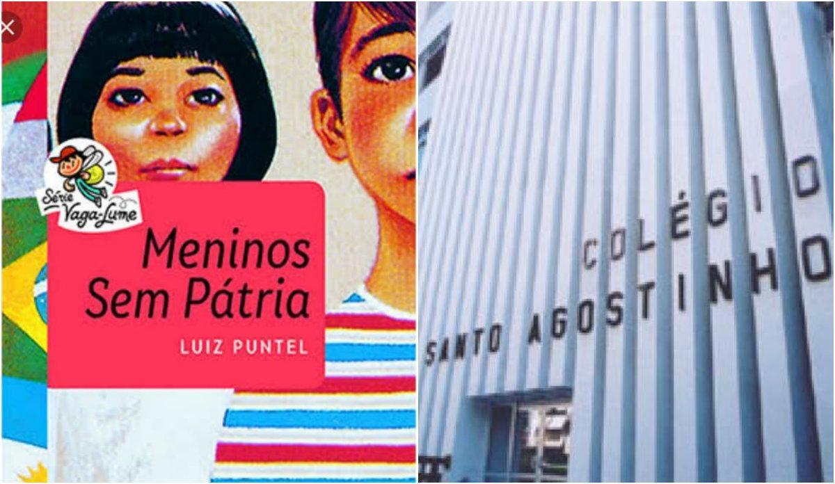 Livro Meninos Sem Pátria e fachada do colégio Santo Agostinho
