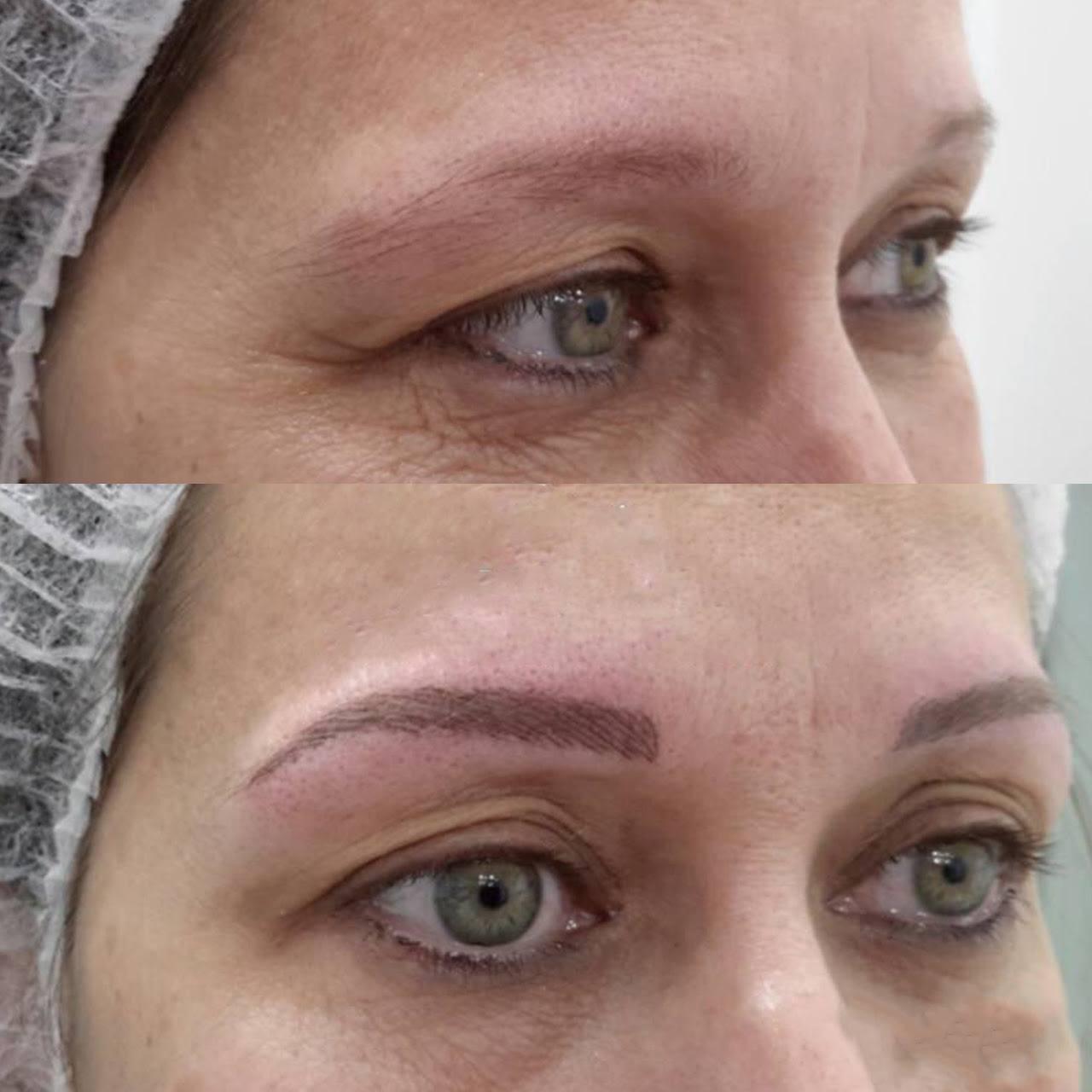 antes e depois de micropigmentação na sobrancelha