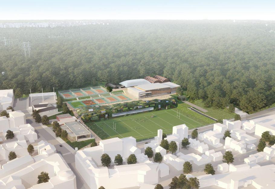 O estádio de telhado verde faz parte do complexo para as Olimpíadas de Paris