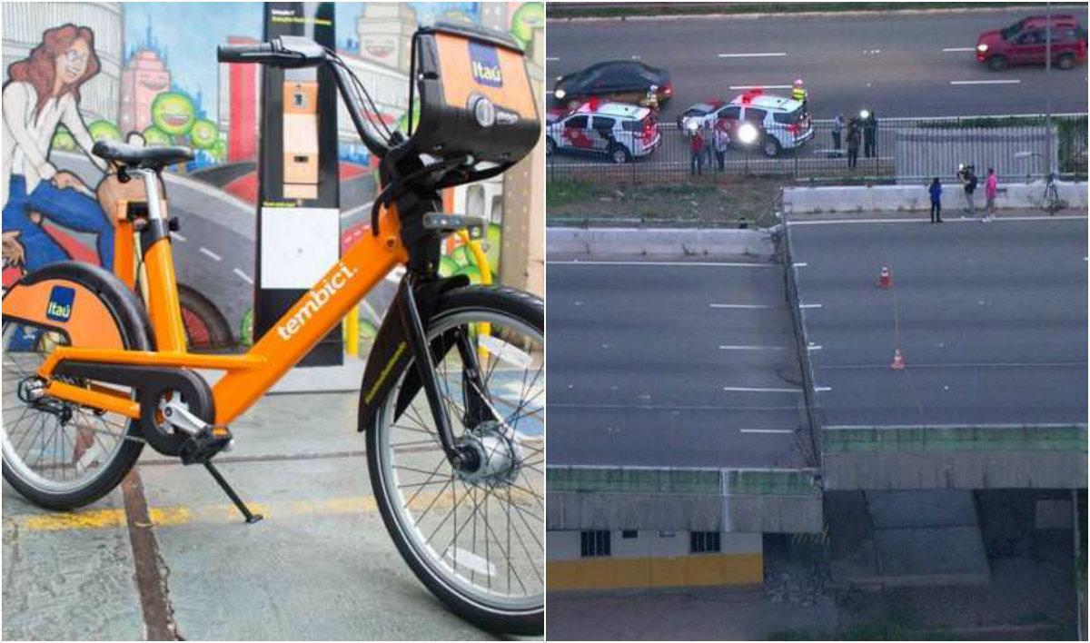 Bicicleta e viaduto após acidente