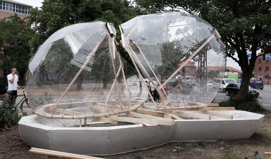 Construção da Biotope, que ficará no local por três anos