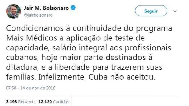 Jair Bolsonaro dissemina Fake News sobre médicos cubanos
